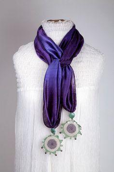 Aydin Efe Needle Laces Silk Scarf via Etsy