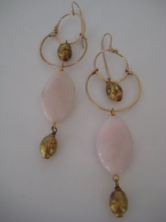 Gold Mala and White Opal Earring Drops by 3tomatoes on Etsy, $85.00