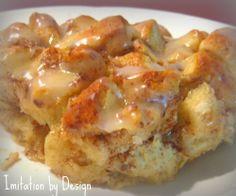 Cinnamon Roll Breakfast Casserole:  Uses Pillsbury cinnamon rolls, Egg Beaters, Cinnamon Bun coffee creamer, & more.