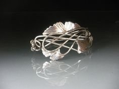 Ginkgo Bangle Bracelet in Sterling Silver, new work and now available for purchase.