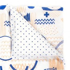 ARRO Home: Cotton poplin doona cover with snap fastening and two-colour custom 'Sketchbook' print on front, and one-colour 'Small Squares' print on back. QUEEN SIZE Dimensions: 210cm x 210cm