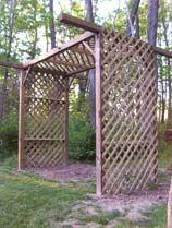simple wood frame + lattice arbor