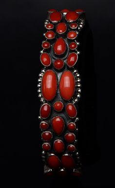 Red Coral bracelet by Leo Fenny for Peyote Bird.