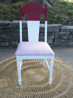 "Red & White Chair w/ pin stripe seat.    by Serendipity's Door on FB.  Visit our page and ""LIKE"""
