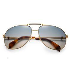 Metal Skull Aviator Sunglasses by Alexander McQueen
