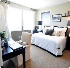 Guest Bedroom/Office- I am finishing up re-painting the guest bedroom. It's perfect until we have a baby and convert it into a nursery... then the queen sized guest bed will have a new home in the office. If I take out the old desk and drafting/drawing table this would work!