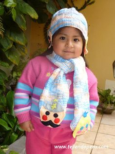 Bufanda y gorro para niños con aplicacines de fieltro (tutorial)