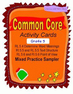 classroom, common core activities, idea, common core standards, boxes, educ, common core reading, cards, reading activities