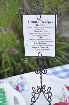smore bar, cute to list different recipes