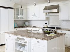 This kitchen features Wilsonart® HD® High Definition® Laminate countertops in Florence  Gold, and a Wilsonart® Crescent Decorative Edge and HD510 Double Equal HD Integrated Sink.
