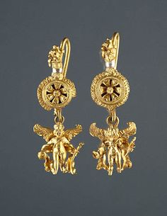 Disk Pendant Earrings with a Figure of Eros (Getty Museum); gold and pearls. Greek, Alexandria, Egypt, 220 - 100 B.C. pendants, museums, pearl earrings, pearls, pendant earring, disk pendant, jewelri, alexandria, egypt