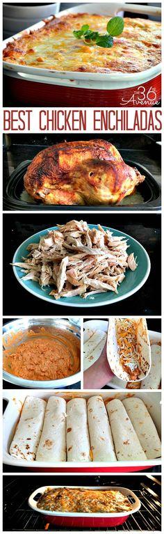 Delicious and super easy chicken enchiladas at the36thavenue.com ...So darn good! #recipes