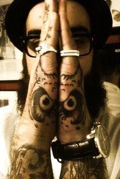 Owl hand tattoo .. Brilliant idea