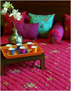 tea time, jewel tone, color, breakfast, tray, cushion, india, boho, bohemian interior