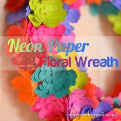 Neon Paper flower wreath from @Infarrantlycreative