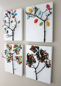 tree design on canvas using branched twig, fabric, buttons, seeds  -- from http://blog.zui.com/2011/11/create-tree-art-with-these-fall-crafts-for-kids/arts-and-crafts-tree-design/