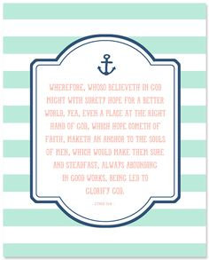 Hope, an anchor to the soul.