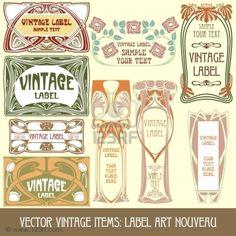 graphic design, vintage items, vintage labels, vintag item, vector vintag, nouveau stock, label art, art nouveau, stock vector