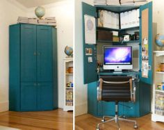 Organize a small office in an old closet