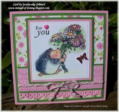 IC334 Flowers for you Penny Black hedgehog card