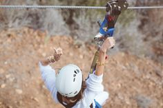 Aimee Song gets the rush while zip lining! #DreamingInBlue