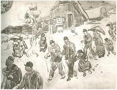 People Walking in Front of Snow-Covered Cottage Vincent van Gogh Drawing, Pencil Saint-Rémy: March - April, 1890