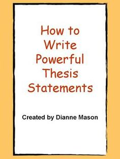 key concepts of writing a thesis statement
