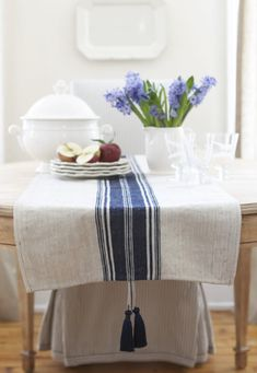 Pretty French Linen Table Runner...love those tassels