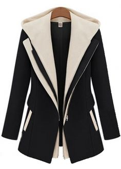 Color Block Hooded Collar  Coat