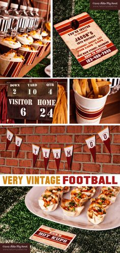 Vintage Football - Printable Party Table Decorations $25.00 - with Custom Team Colors https://www.etsy.com/listing/107714320/full-set-vintage-football-printable