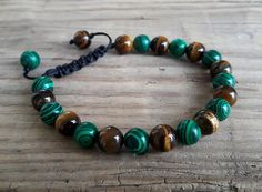 Prosperity bracelet tiger eye malachite energy muse transformation bracelet healing crystals protect