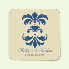 Blue & Ivory Wedding Save the Date Sticker