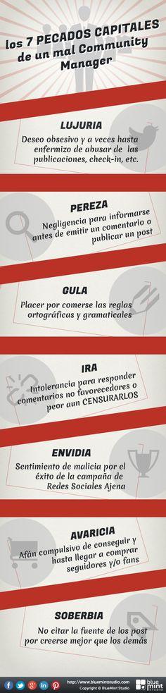 Los 7 pecados capitales de un #CommunityManager. Infografía en español