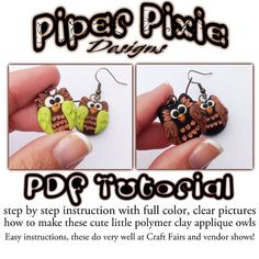 PDF Tutorial Polymer Clay Applique or Embroidery Owl charms step by step instruction how to DIY polymer charm.  $10