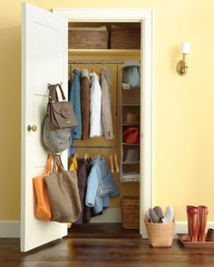 bag hooks inside entry closet door.