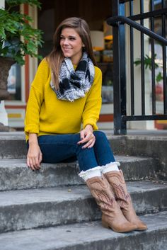 "You just gotta have this super cozy mustard number! The chunky sweater trend is going on through winter and we couldn't be more excited! Doesn't a warm scarf pair perfectly with this piece!?   Bra-friendly! Material has fair amount of stretch.  Miranda is wearing the size small.   Sizes fit:  Small- 0-4; Medium- 6; Large- 8-10   Length from shoulder to hem: S- 25""; M- 26""; L- 27""."