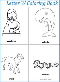 Letter W words coloring page