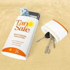 Simply Brilliant. Empty an old container of sunscreen and hide your valuable.