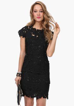 Great cocktail dress! Open Back, Black Short Sleeve Floral Crochet Bodycon Dress