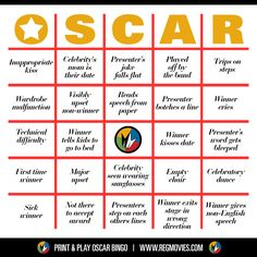 Oscar Bingo! Card no. 2