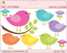 birds clipart digital clip art branch animals woodland spring - BUY 2 GET 2 FREE - Little Birds Digital Clipart. $4.95, via Etsy.