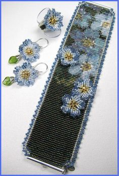 cuff, bead loom earrings, flower