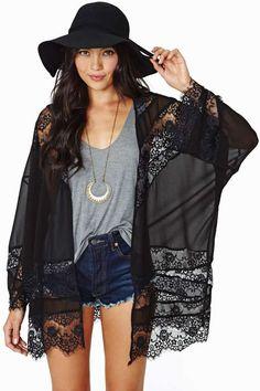 Sheer Caress Kimono - Black