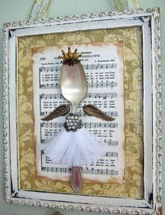 Shabby Vintage Spoon Angel Assemblage Chic Antique White Frame Crown Christmas decoration wall hanging
