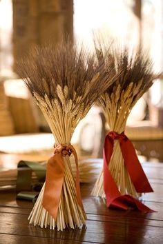 Wheat as a decoration for a table setting
