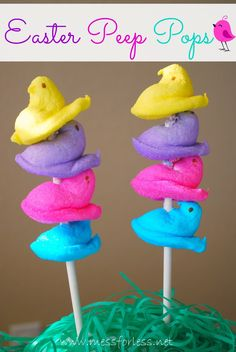 Easter Peep Pops - Various colored Peeps and a stick. Doesnt get much easier than this to create an Easter treat. #easter #peeps