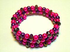 Cuff/Wrap Bracelet 3 Strands With Pink and by gagirljewelryandgift, $8.00