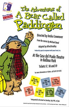 "Poster design for San DIego Junior Theatre's 1997 production of ""The Adventures of a Bear Called Paddington."" Design, Thrive 