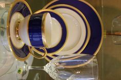 "China sets for the newlywed couple are the perfect way to help them build a home together! This gorgeous blue and gold set by Lenox China - ""Independence"" - may inspire just that. $180 per set at Hands Jewelers."