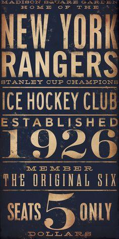 New York Rangers hockey club graphic art artwork archival Giclee print 10 x 20 inches. $25.00, via Etsy.